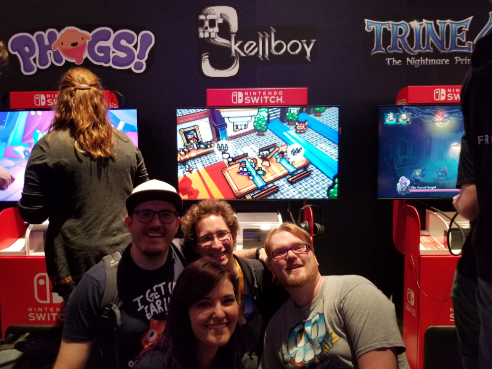 Skellboy kicking tailbone over at the Nintendo booth!